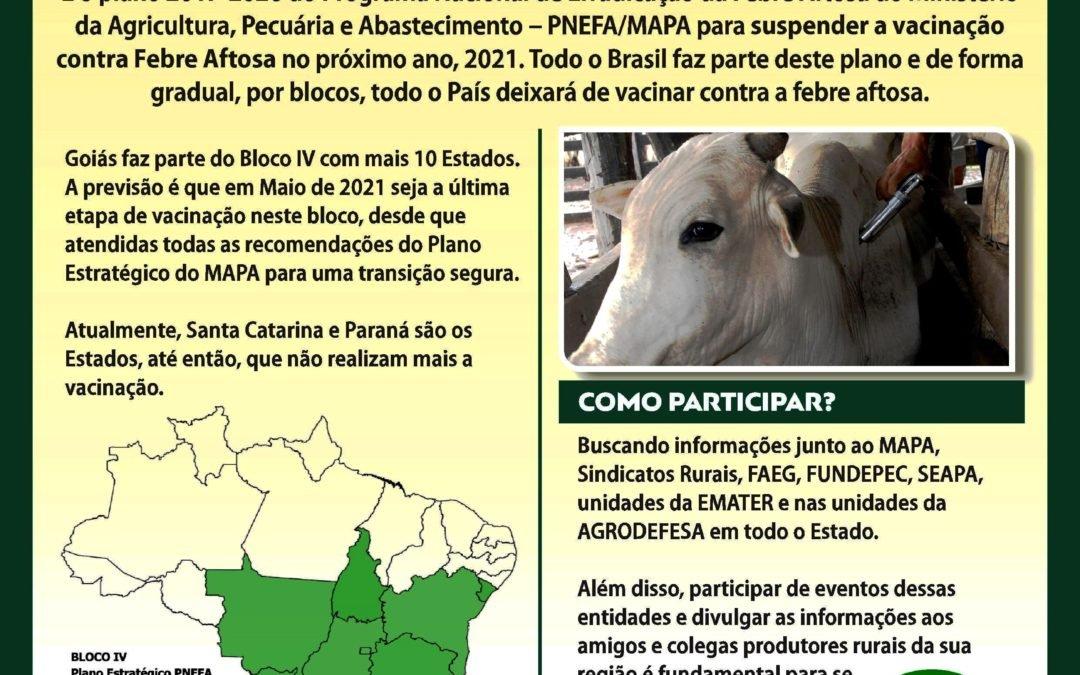 Goiás divulga Plano Estratégico para retirada da vacina contra aftosa em 2021