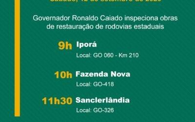 Governador Ronaldo Caiado inspeciona obras de restauração de rodovias estaduais