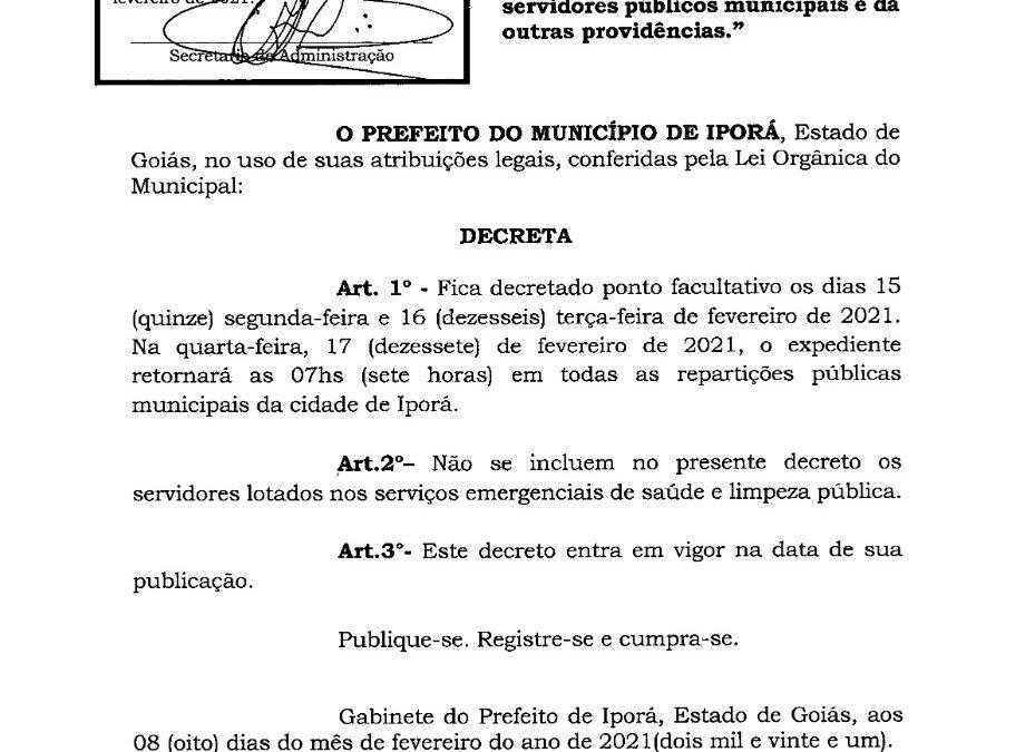 Por decreto prefeito de Iporá declara ponto facultativo, segunda e terça-feira